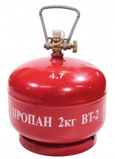 БАЛЛОН LPG металлический BT-2 (4,8 Л) с БЕЗОПАСНЫМ КЛАПАНОМ